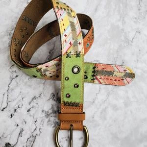 Accessories - Boho Patchwork Leather Belt M  EUC